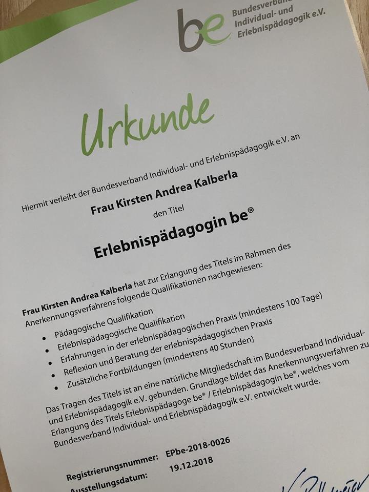 Urkunde zum Titel Erlebnispädagoge be®